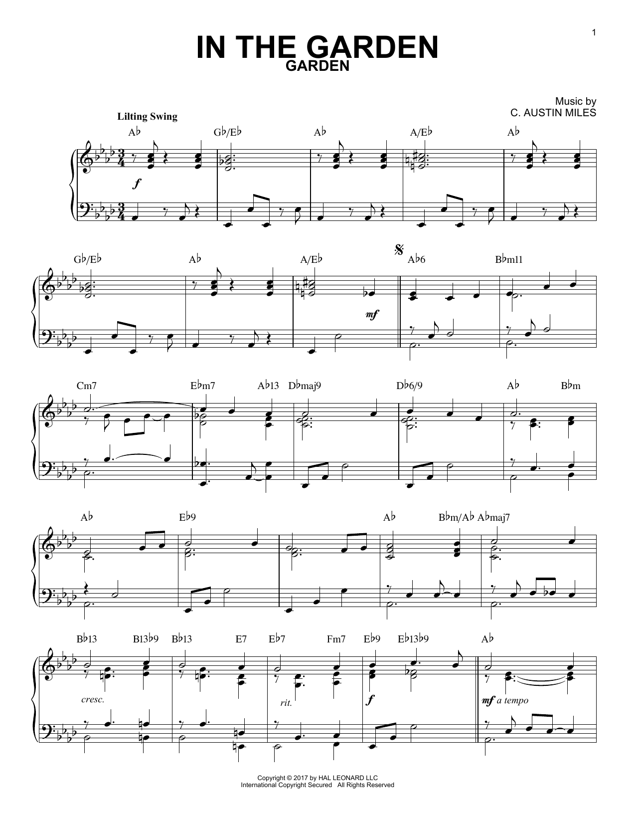 Download C. Austin Miles 'In The Garden' Digital Sheet Music Notes & Chords and start playing in minutes