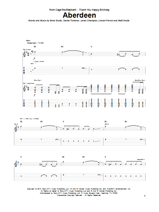 Cage The Elephant Aberdeen sheet music preview music notes and score for Guitar Tab including 9 page(s)
