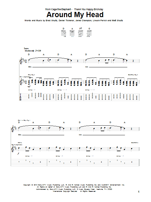 Cage The Elephant Around My Head sheet music preview music notes and score for Guitar Tab including 8 page(s)