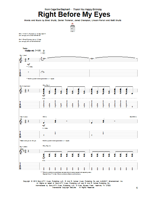 Cage The Elephant Right Before My Eyes sheet music preview music notes and score for Guitar Tab including 11 page(s)