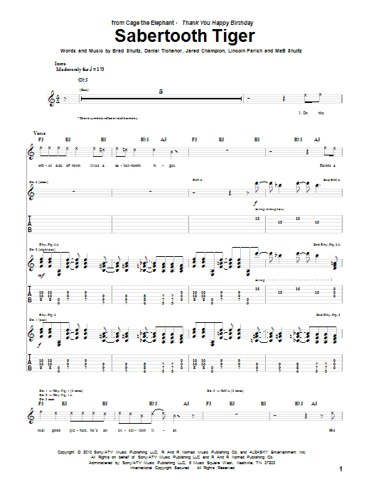 Cage The Elephant Sabertooth Tiger sheet music preview music notes and score for Guitar Tab including 6 page(s)
