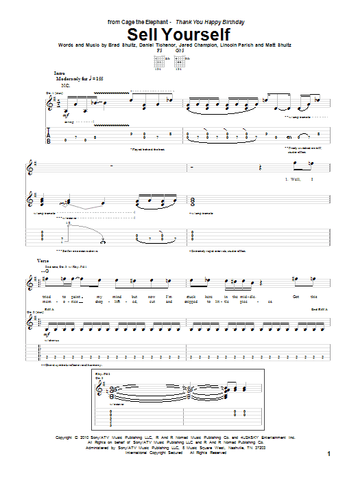 Cage The Elephant Sell Yourself sheet music preview music notes and score for Guitar Tab including 8 page(s)