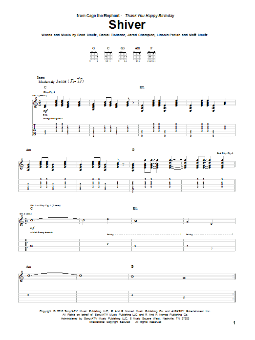 Cage The Elephant Shiver sheet music preview music notes and score for Guitar Tab including 7 page(s)
