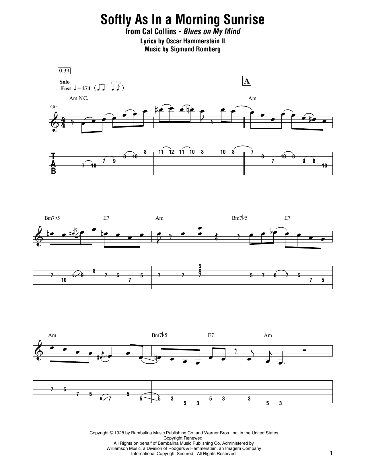Download Cal Collins 'Softly As In A Morning Sunrise' Digital Sheet Music Notes & Chords and start playing in minutes