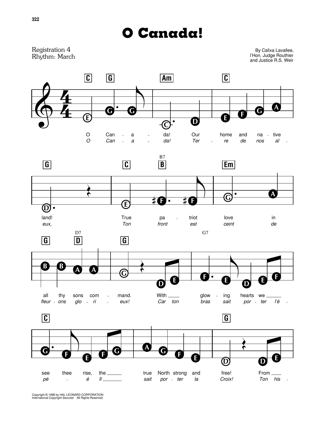 Calixa Lavallee O Canada! sheet music preview music notes and score for Easy Piano including 2 page(s)