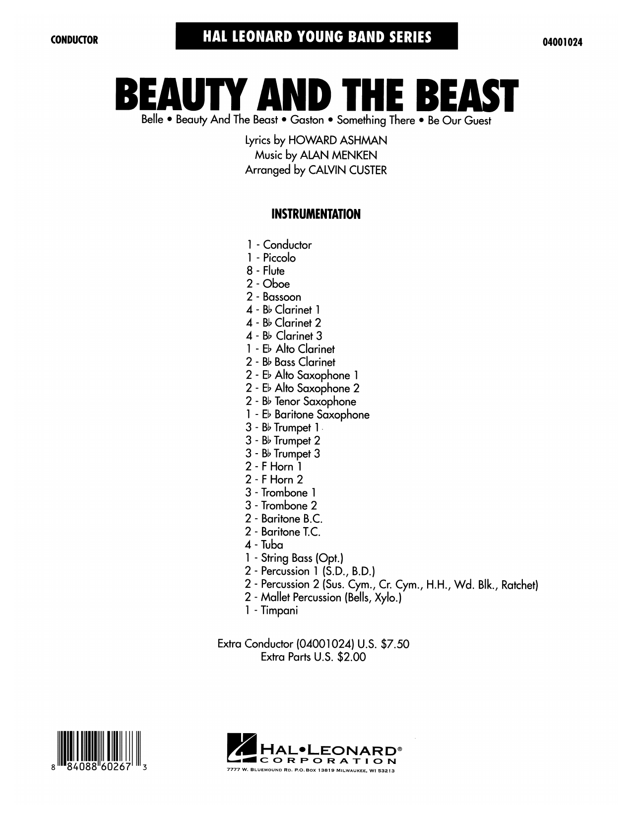 Calvin Custer Beauty and the Beast (Medley) - Full Score sheet music preview music notes and score for Concert Band including 24 page(s)
