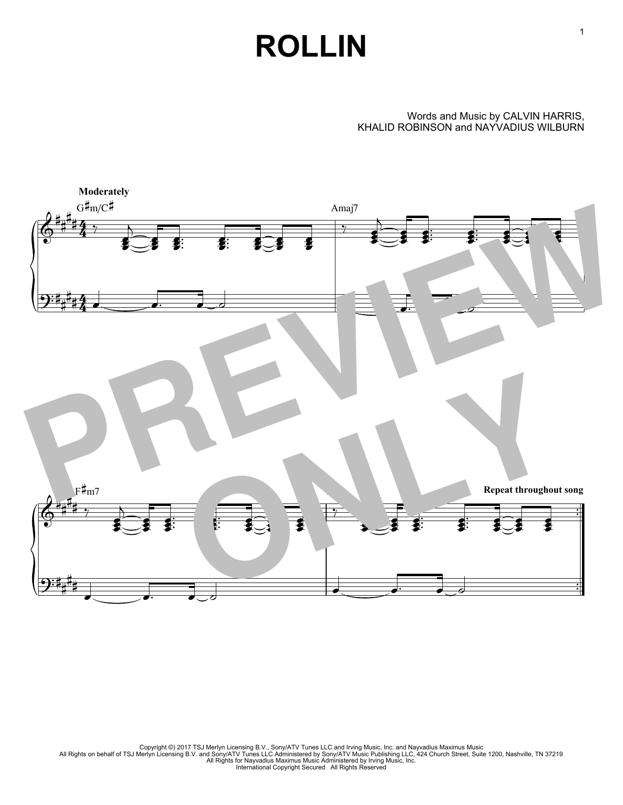 Calvin Harris feat. Future and Khalid Rollin sheet music preview music notes and score for Piano including 1 page(s)