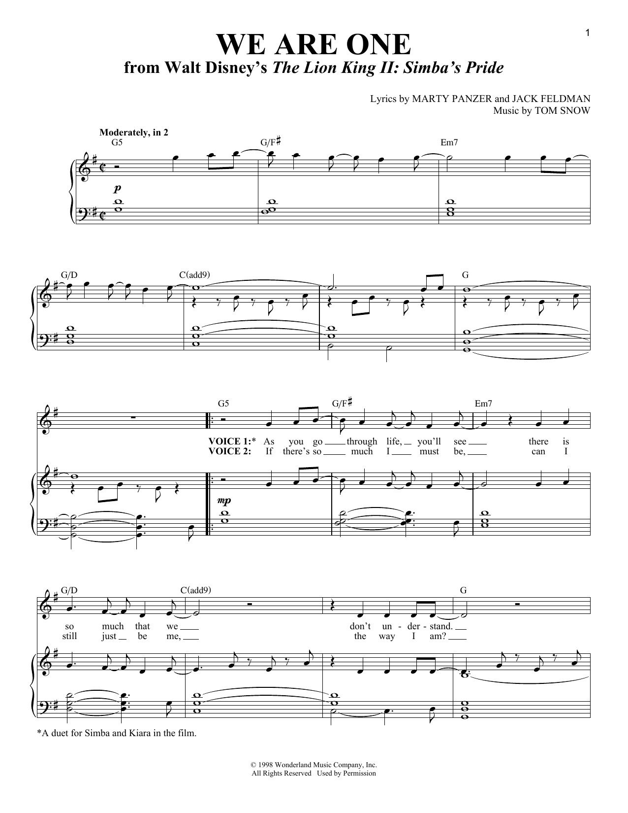Download Jack Feldman 'We Are One' Digital Sheet Music Notes & Chords and start playing in minutes