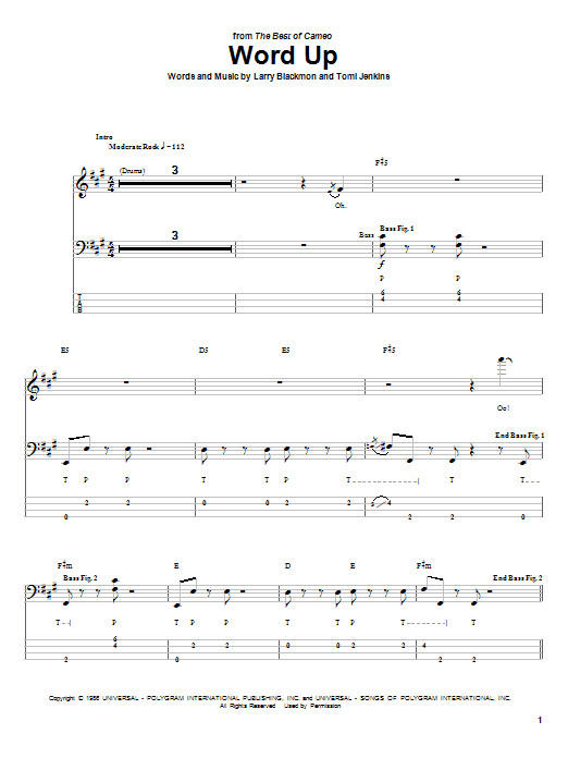 Download Cameo 'Word Up' Digital Sheet Music Notes & Chords and start playing in minutes