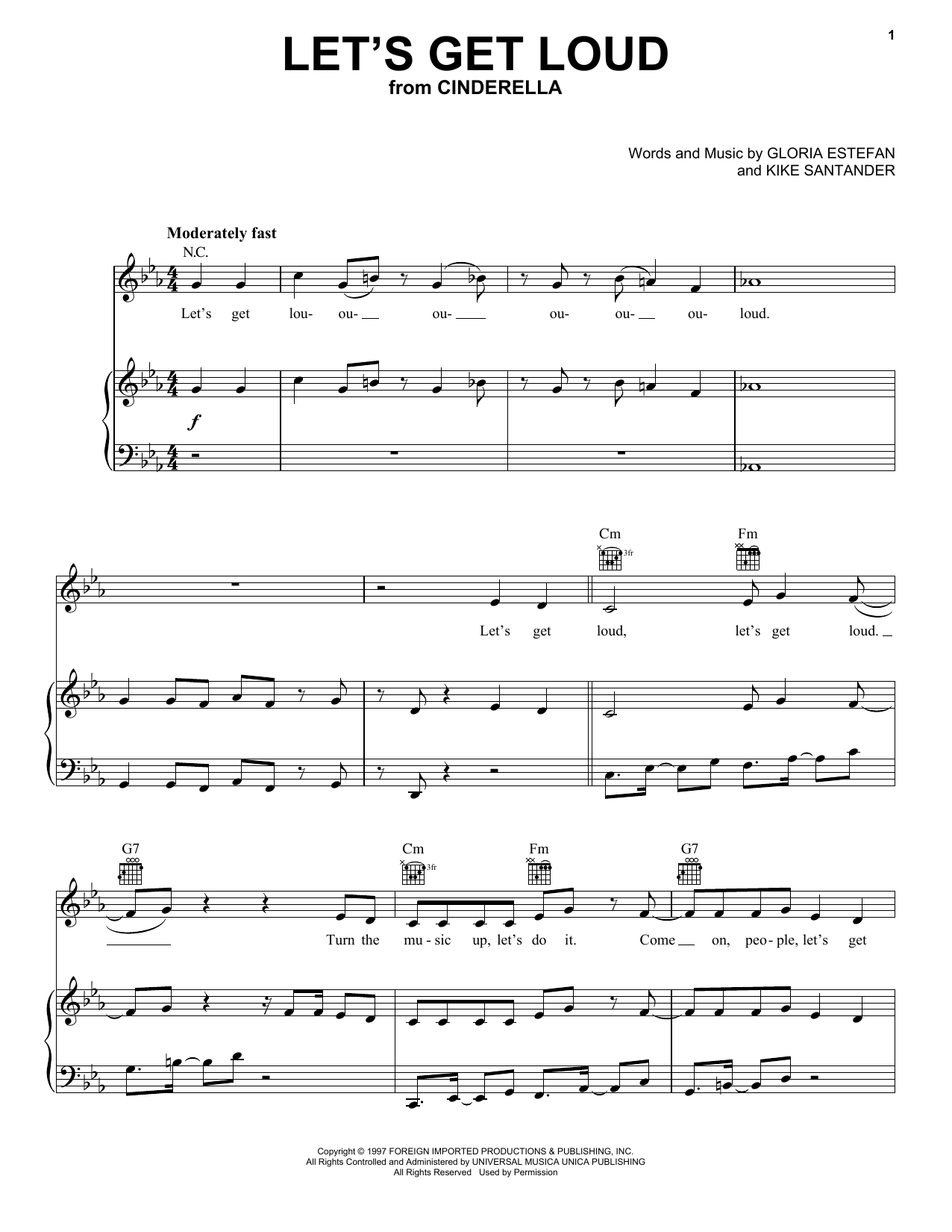 Camila Cabello, Nicholas Galitzine and Idina Menzel Let's Get Loud (from the Amazon Original Movie Cinderella) sheet music preview music notes and score for Piano, Vocal & Guitar (Right-Hand Melody) including 13 page(s)