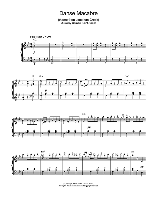 Download Camille Saint-Saens 'Danse Macabre (theme from Jonathan Creek)' Digital Sheet Music Notes & Chords and start playing in minutes