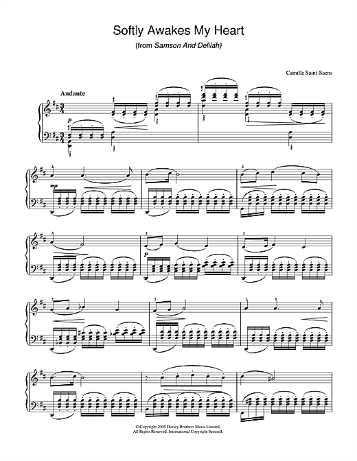 Download Camille Saint-Saens 'Softly Awakes My Heart (from Samson And Delilah)' Digital Sheet Music Notes & Chords and start playing in minutes