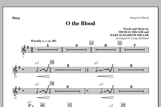 Camp Kirkland O The Blood - Harp sheet music preview music notes and score for Choir Instrumental Pak including 1 page(s)