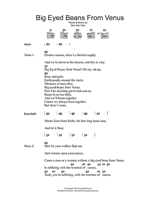 Captain Beefheart Big Eyed Beans From Venus sheet music preview music notes and score for Lyrics & Chords including 2 page(s)