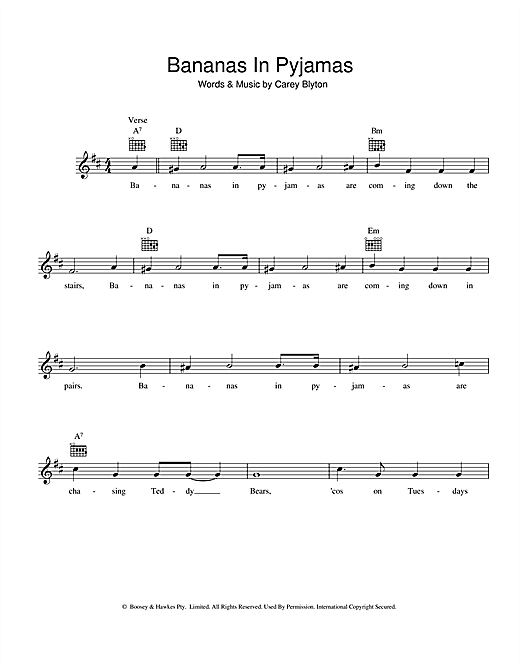 Carey Blyton Bananas In Pyjamas sheet music preview music notes and score for Melody Line, Lyrics & Chords including 2 page(s)