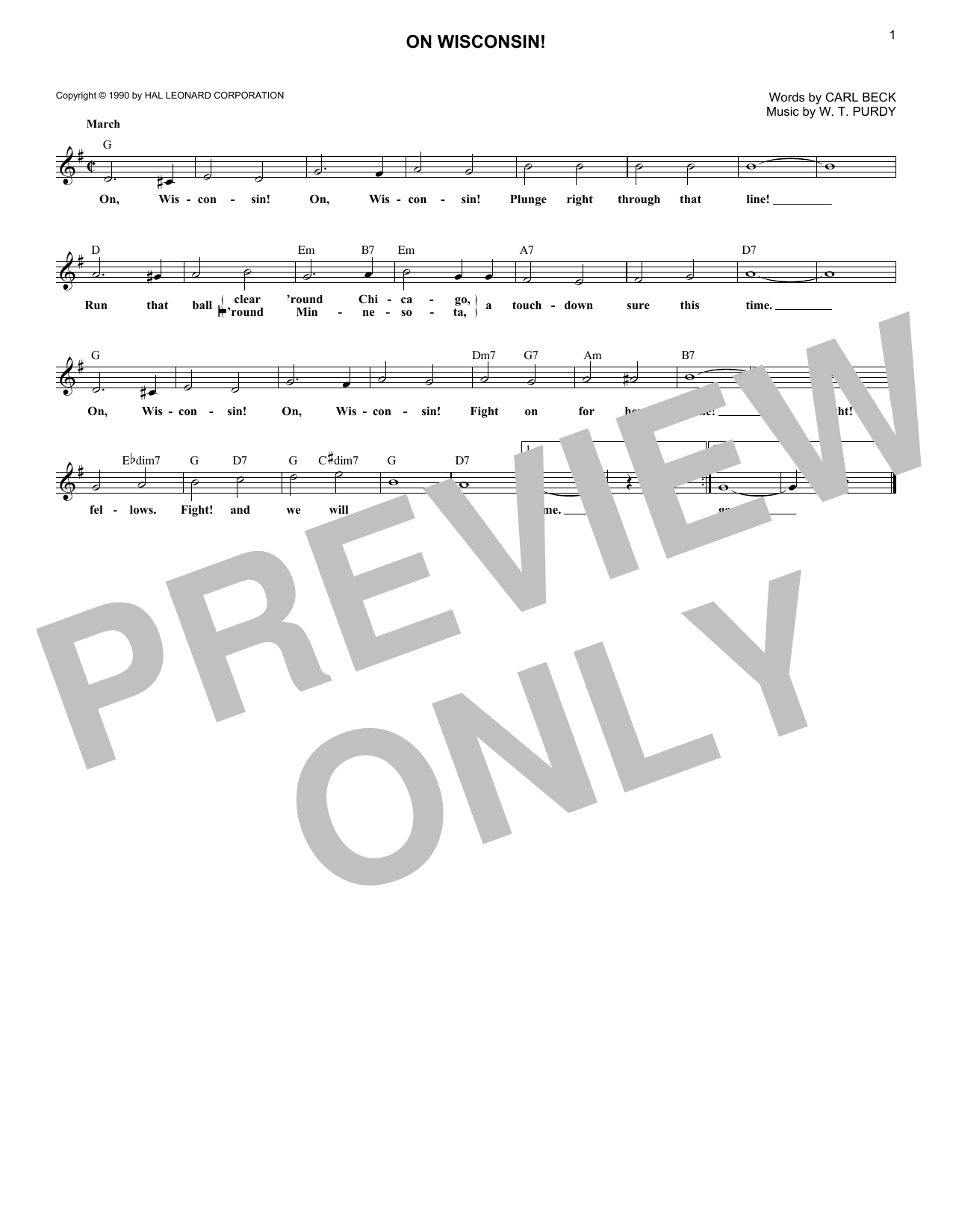 Download Carl Beck 'On Wisconsin!' Digital Sheet Music Notes & Chords and start playing in minutes
