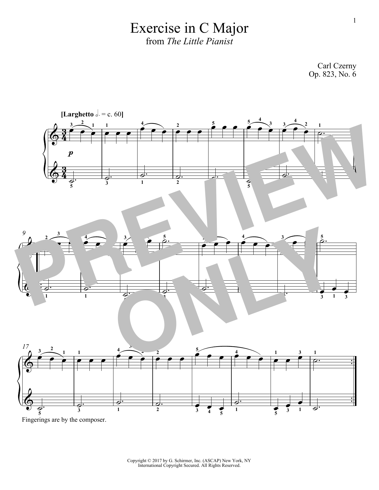 Download Carl Czerny 'Exercise in C Major, Op. 823, No. 6' Digital Sheet Music Notes & Chords and start playing in minutes