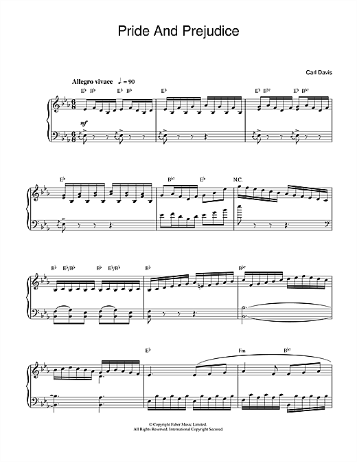 Download Carl Davis 'Pride And Prejudice' Digital Sheet Music Notes & Chords and start playing in minutes