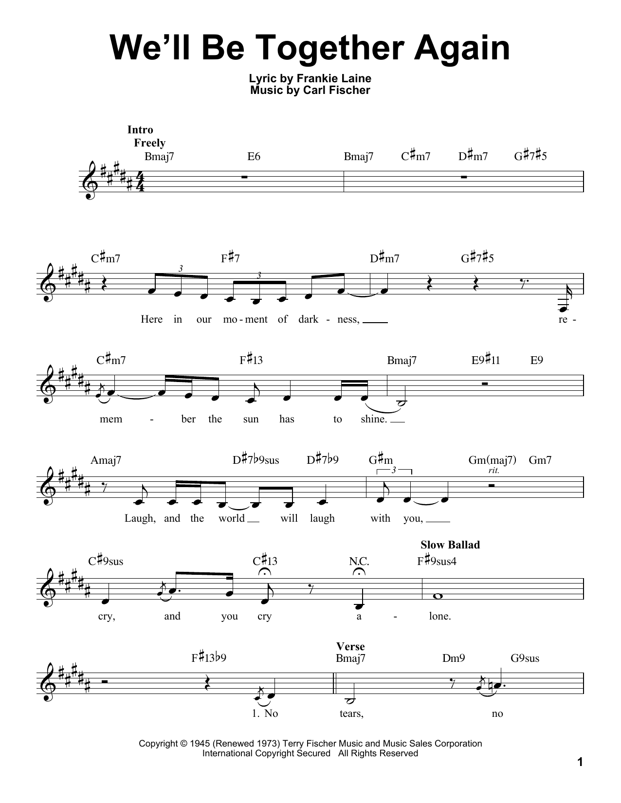 Download Carl Fischer 'We'll Be Together Again' Digital Sheet Music Notes & Chords and start playing in minutes