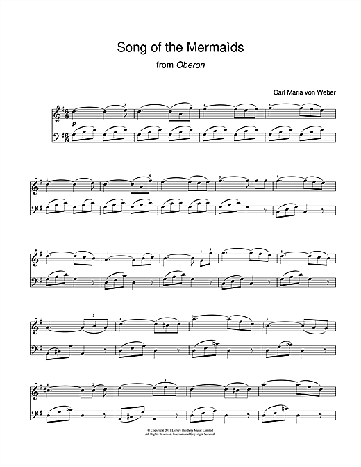 Download Carl Maria Von Weber 'Song Of The Mermaids (From Oberon)' Digital Sheet Music Notes & Chords and start playing in minutes