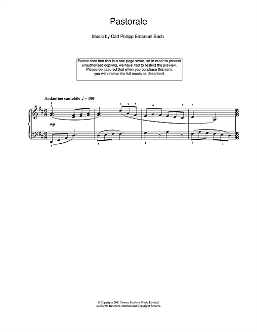 Download Carl Philipp Emanuel Bach 'Pastorale' Digital Sheet Music Notes & Chords and start playing in minutes