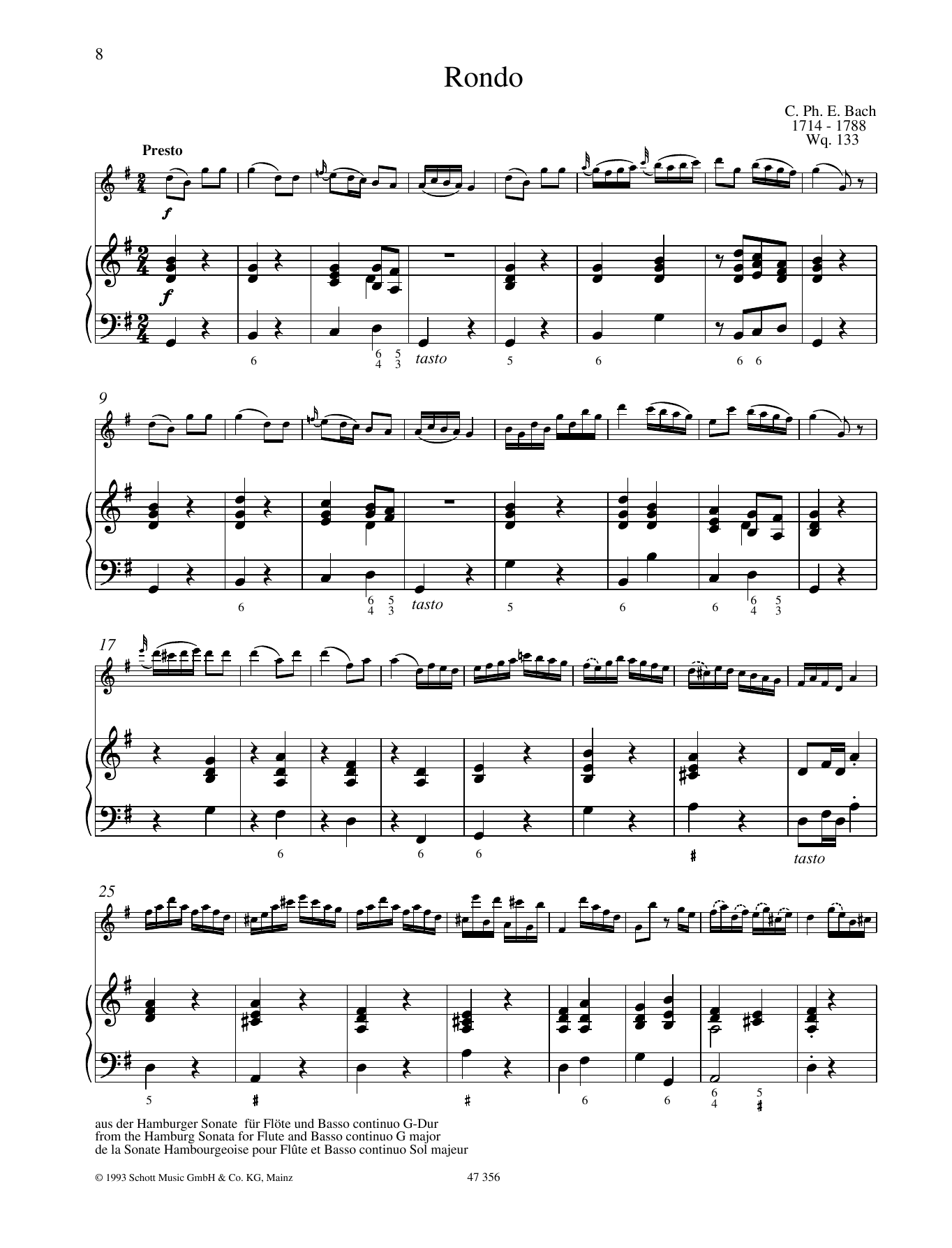 Carl Philipp Emanuel Bach Rondo sheet music preview music notes and score for Woodwind Solo including 8 page(s)