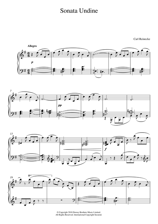 Download Carl Reinecke 'Sonata Undine Op. 167' Digital Sheet Music Notes & Chords and start playing in minutes
