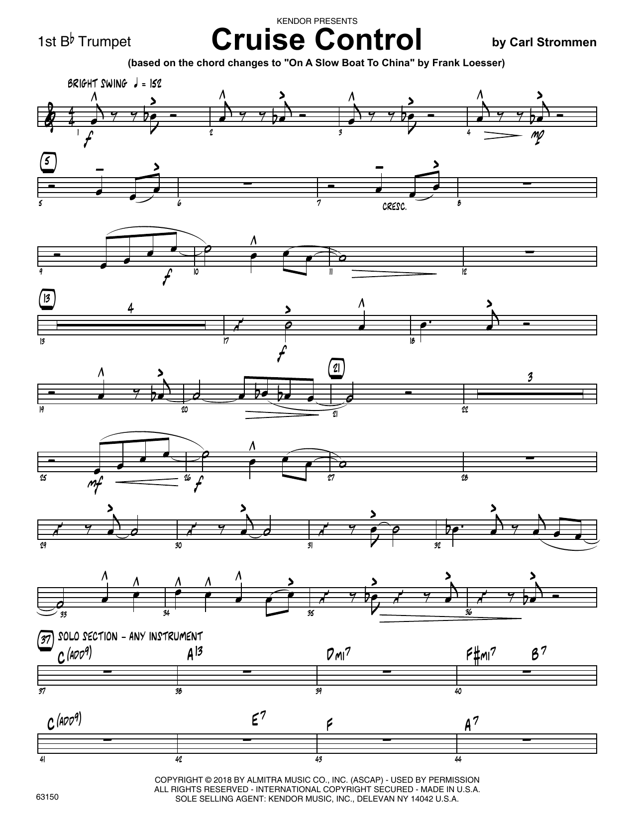 Carl Strommen Cruise Control - 1st Bb Trumpet sheet music preview music notes and score for Jazz Ensemble including 2 page(s)