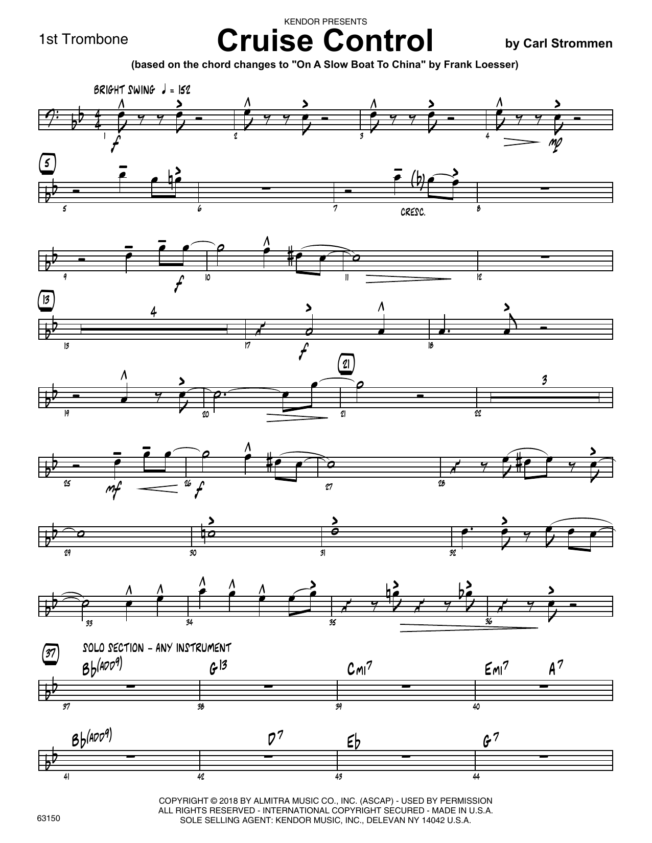 Carl Strommen Cruise Control - 1st Trombone sheet music preview music notes and score for Jazz Ensemble including 2 page(s)