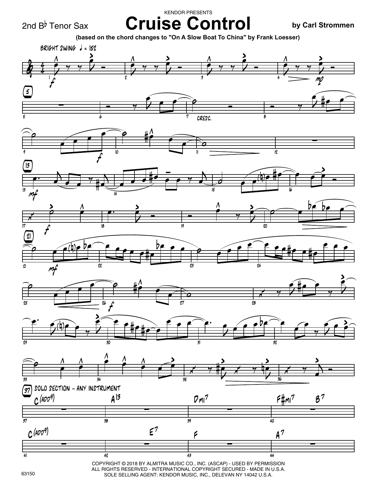 Carl Strommen Cruise Control - 2nd Bb Tenor Saxophone sheet music preview music notes and score for Jazz Ensemble including 2 page(s)