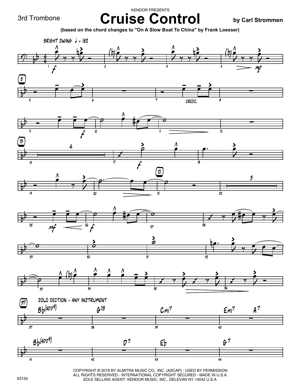 Carl Strommen Cruise Control - 3rd Trombone sheet music preview music notes and score for Jazz Ensemble including 2 page(s)