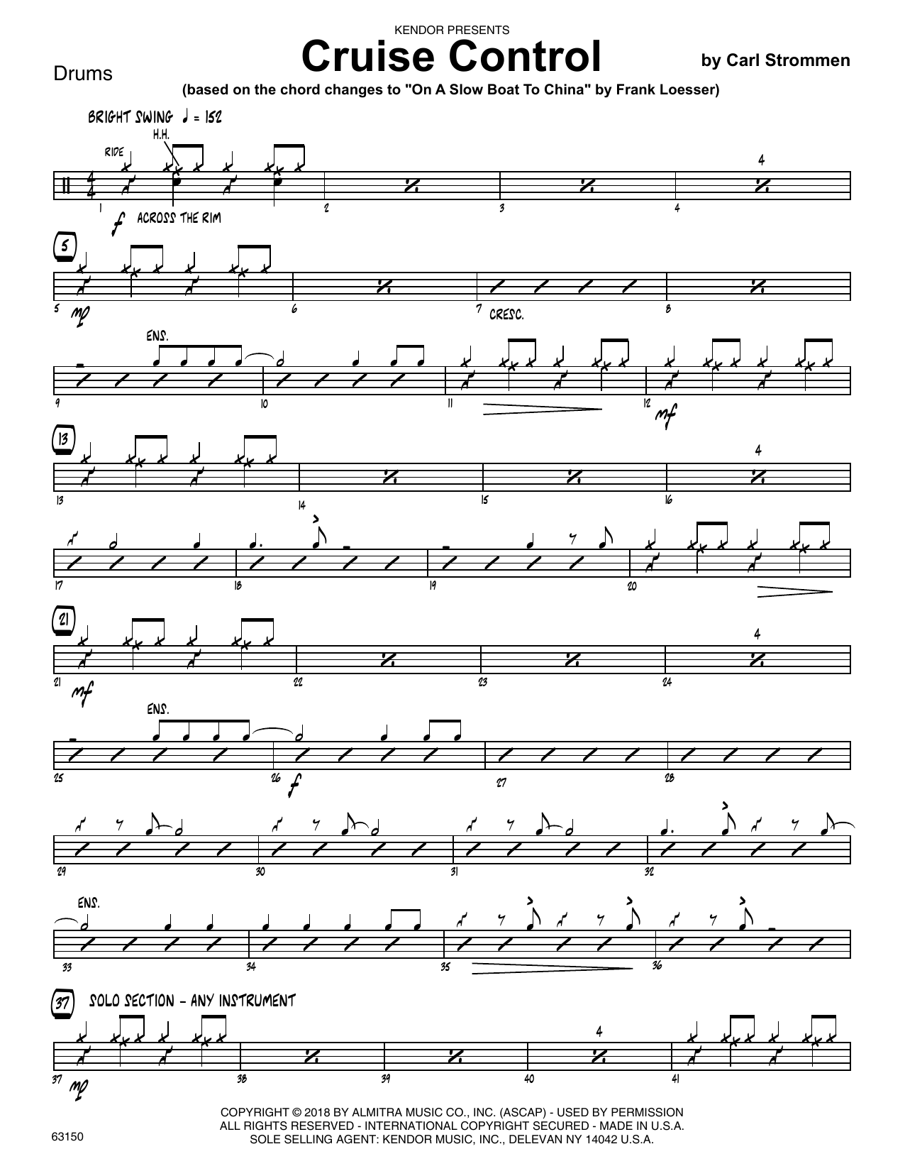 Carl Strommen Cruise Control - Drum Set sheet music preview music notes and score for Jazz Ensemble including 2 page(s)
