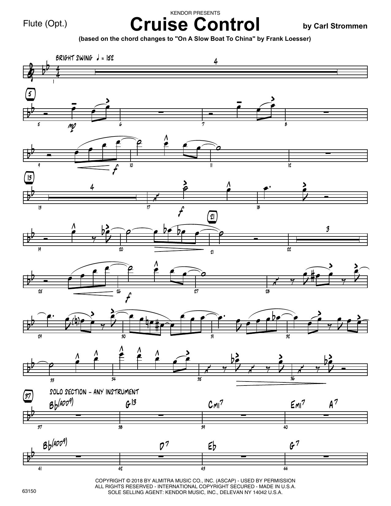 Carl Strommen Cruise Control - Flute sheet music preview music notes and score for Jazz Ensemble including 2 page(s)