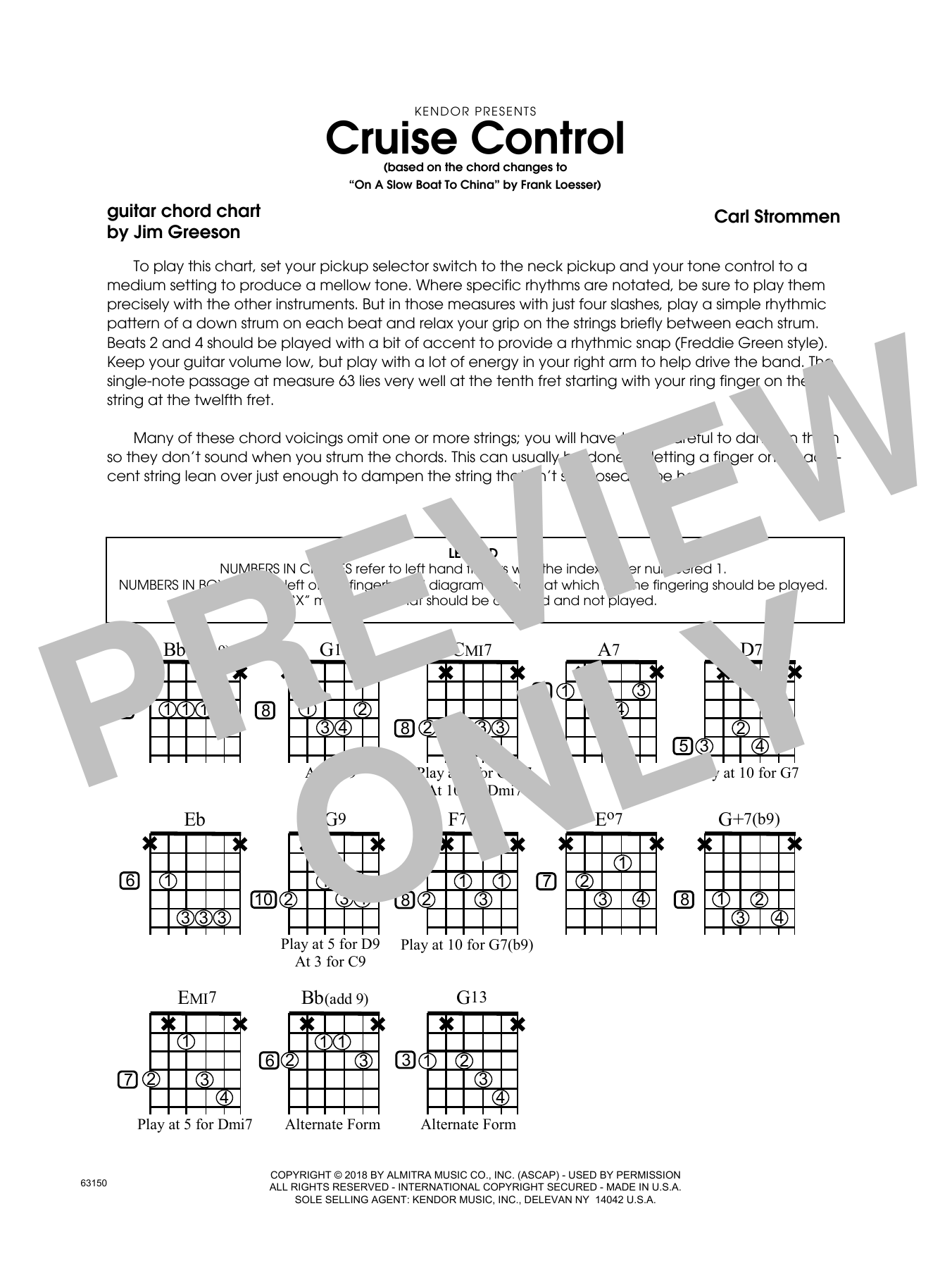 Carl Strommen Cruise Control - Guitar Chord Chart sheet music preview music notes and score for Jazz Ensemble including 1 page(s)