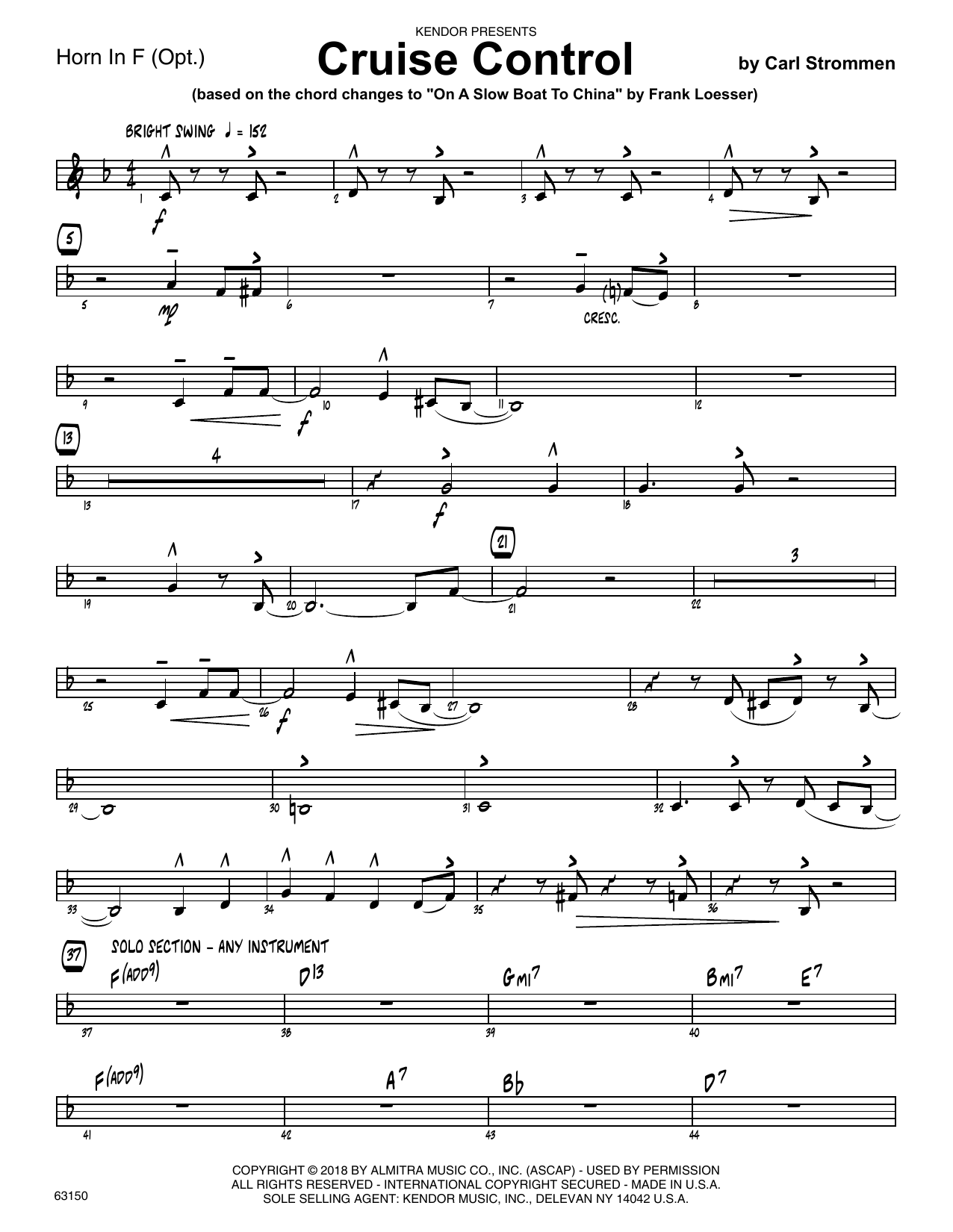 Carl Strommen Cruise Control - Horn in F sheet music preview music notes and score for Jazz Ensemble including 2 page(s)