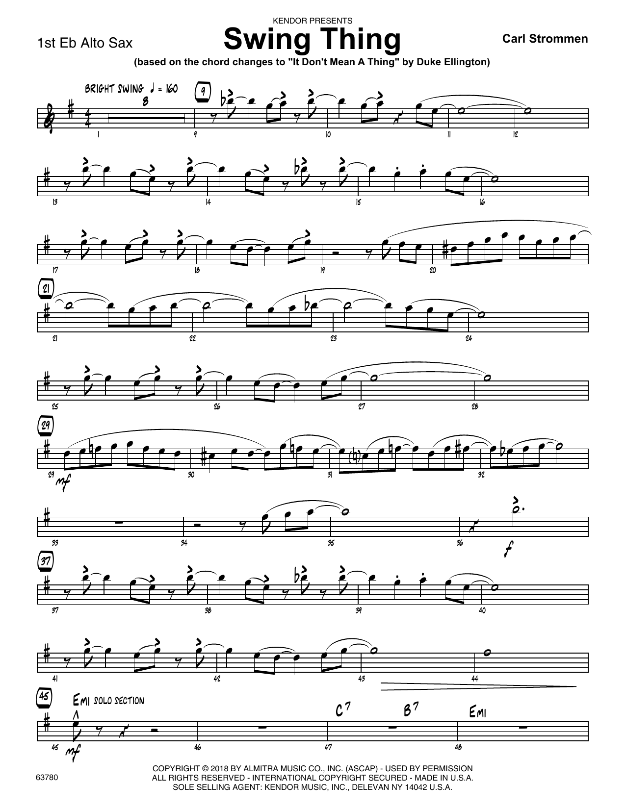 Carl Strommen Swing Thing - 1st Eb Alto Saxophone sheet music preview music notes and score for Jazz Ensemble including 2 page(s)