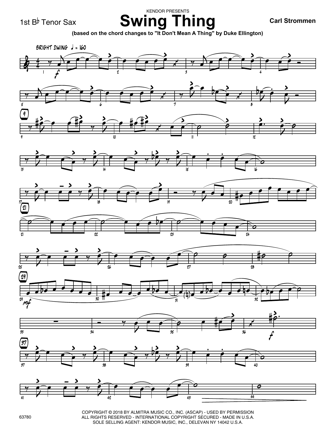 Carl Strommen Swing Thing - 1st Tenor Saxophone sheet music preview music notes and score for Jazz Ensemble including 2 page(s)