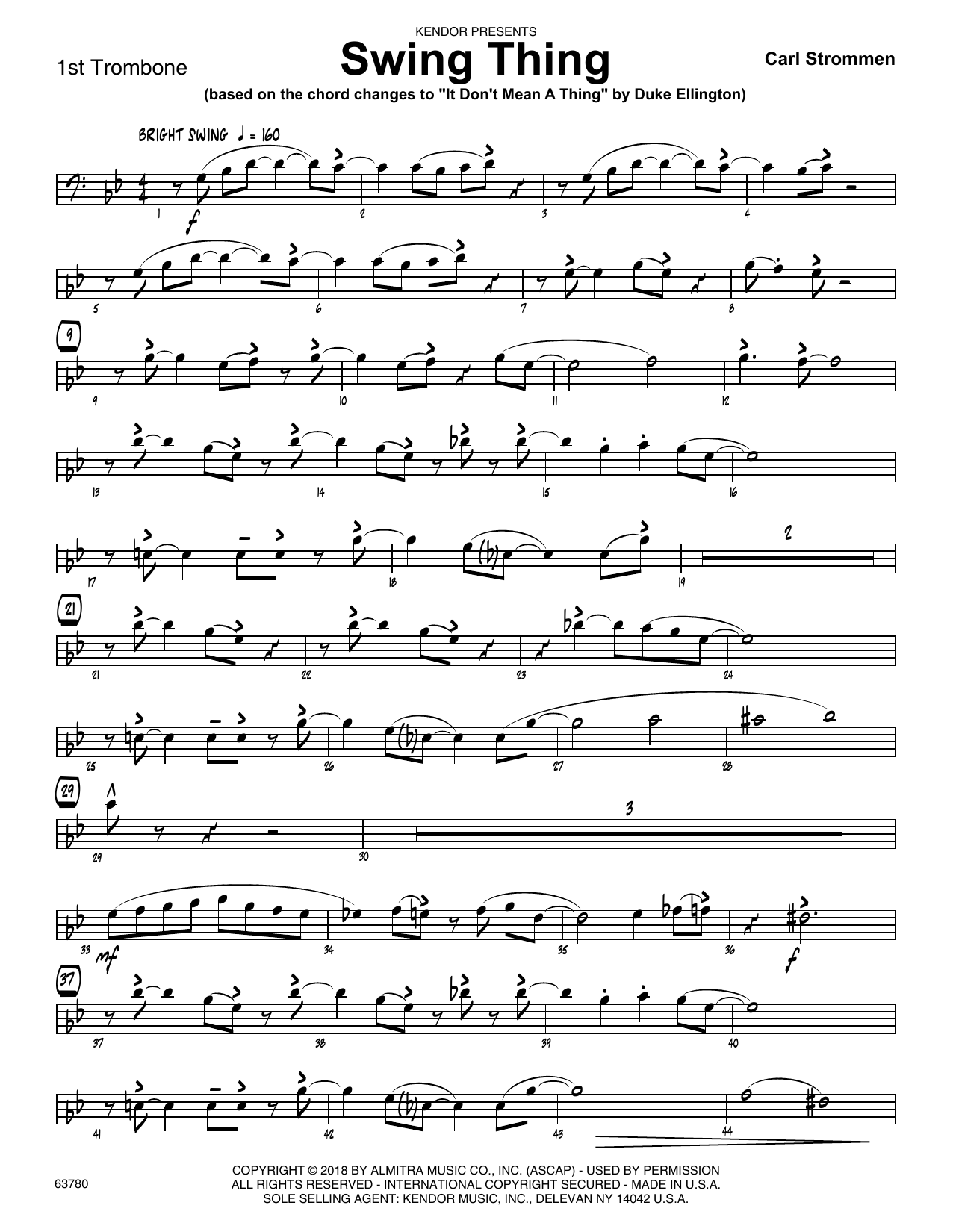 Carl Strommen Swing Thing - 1st Trombone sheet music preview music notes and score for Jazz Ensemble including 2 page(s)