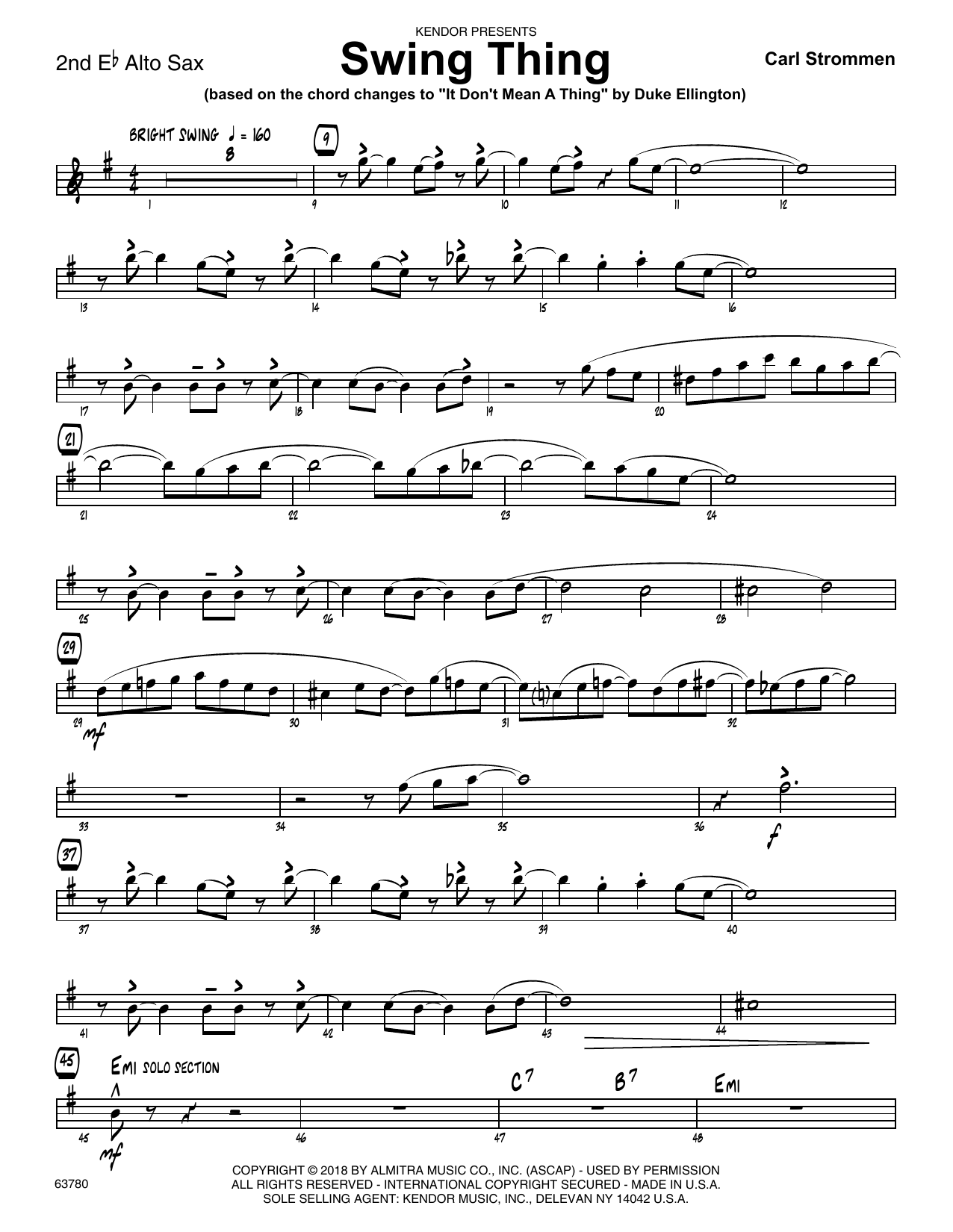 Carl Strommen Swing Thing - 2nd Eb Alto Saxophone sheet music preview music notes and score for Jazz Ensemble including 2 page(s)