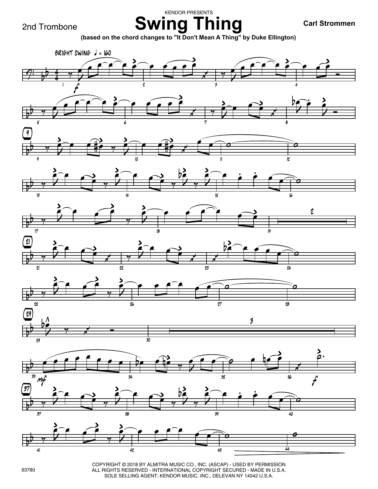 Carl Strommen Swing Thing - 2nd Trombone sheet music preview music notes and score for Jazz Ensemble including 2 page(s)