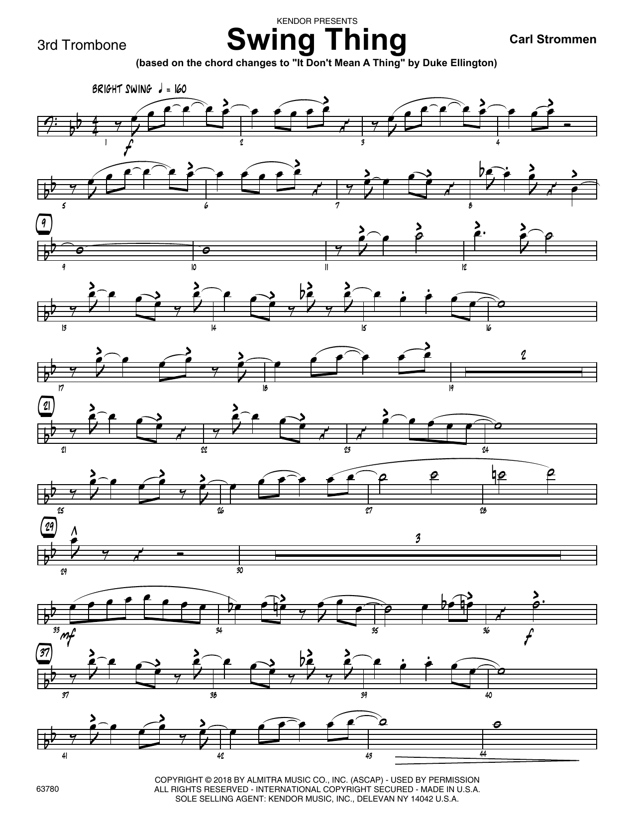 Carl Strommen Swing Thing - 3rd Trombone sheet music preview music notes and score for Jazz Ensemble including 2 page(s)