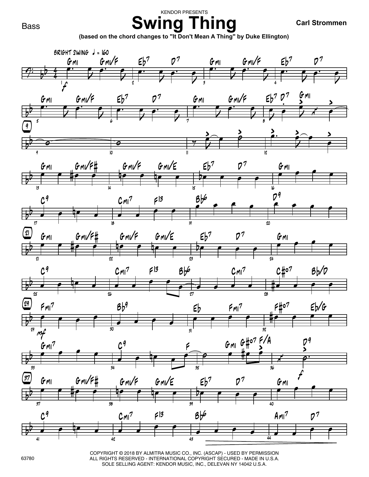 Carl Strommen Swing Thing - Bass sheet music preview music notes and score for Jazz Ensemble including 2 page(s)