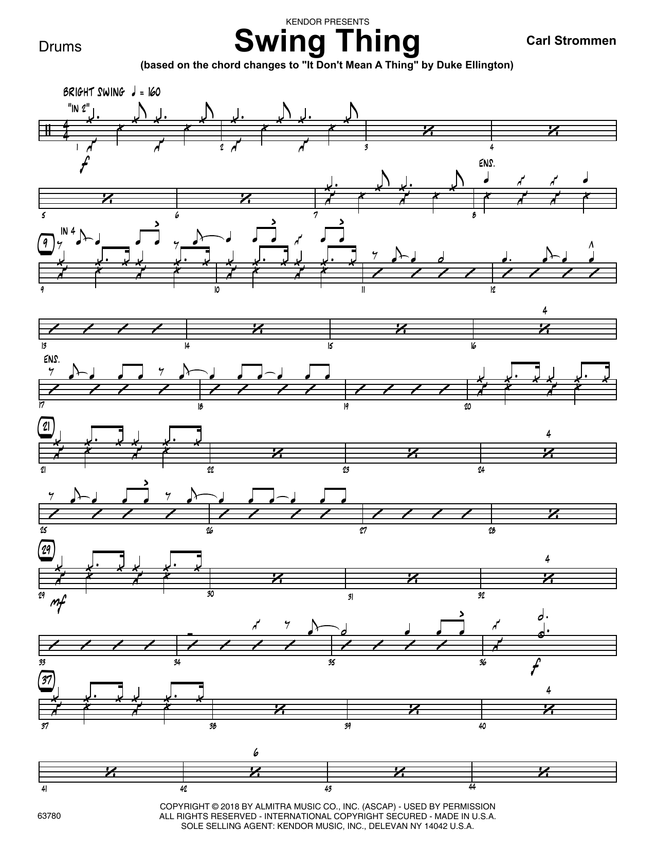 Carl Strommen Swing Thing - Drum Set sheet music preview music notes and score for Jazz Ensemble including 2 page(s)