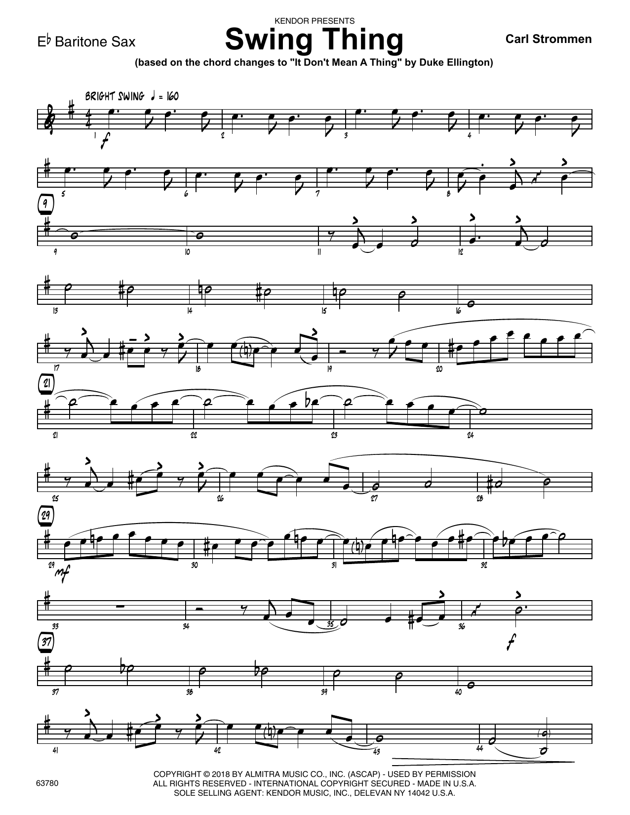 Carl Strommen Swing Thing - Eb Baritone Saxophone sheet music preview music notes and score for Jazz Ensemble including 2 page(s)