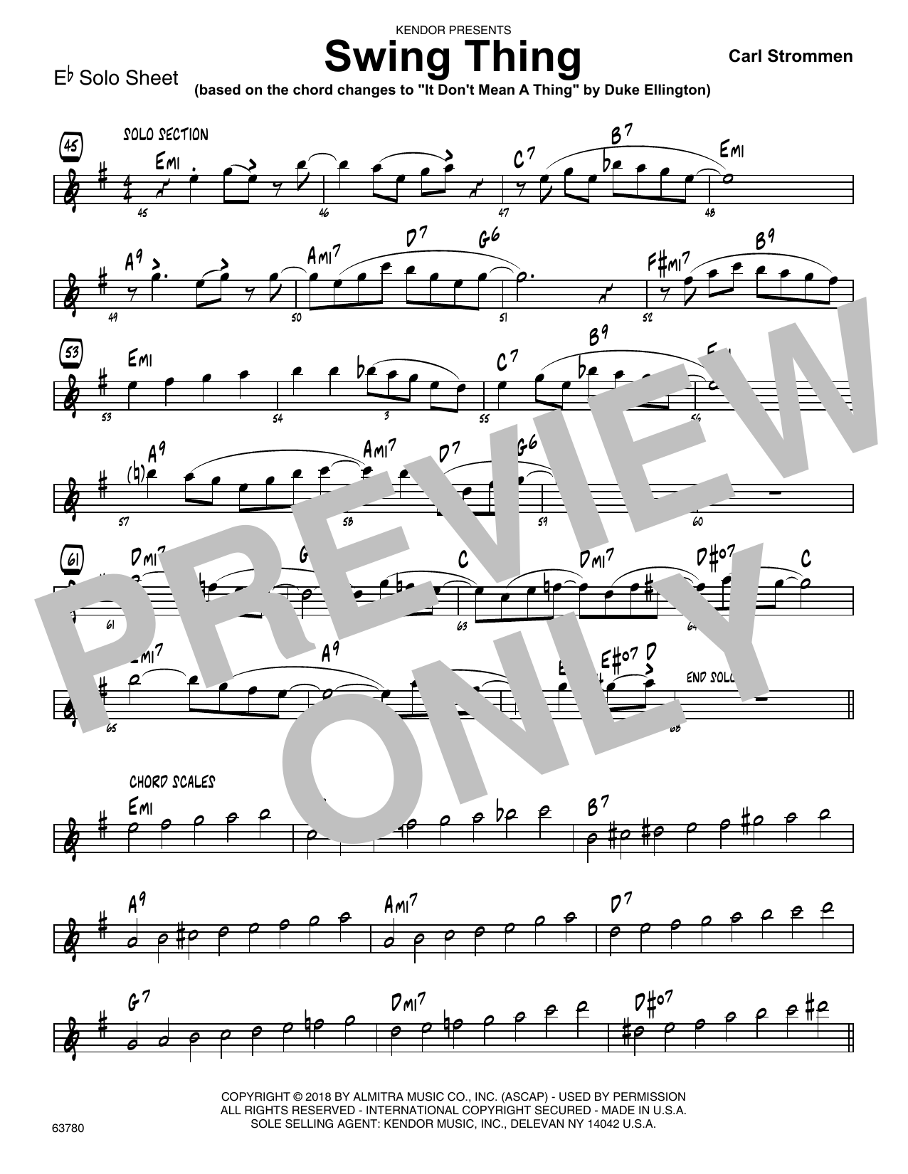 Carl Strommen Swing Thing - Eb Solo Sheet sheet music preview music notes and score for Jazz Ensemble including 1 page(s)