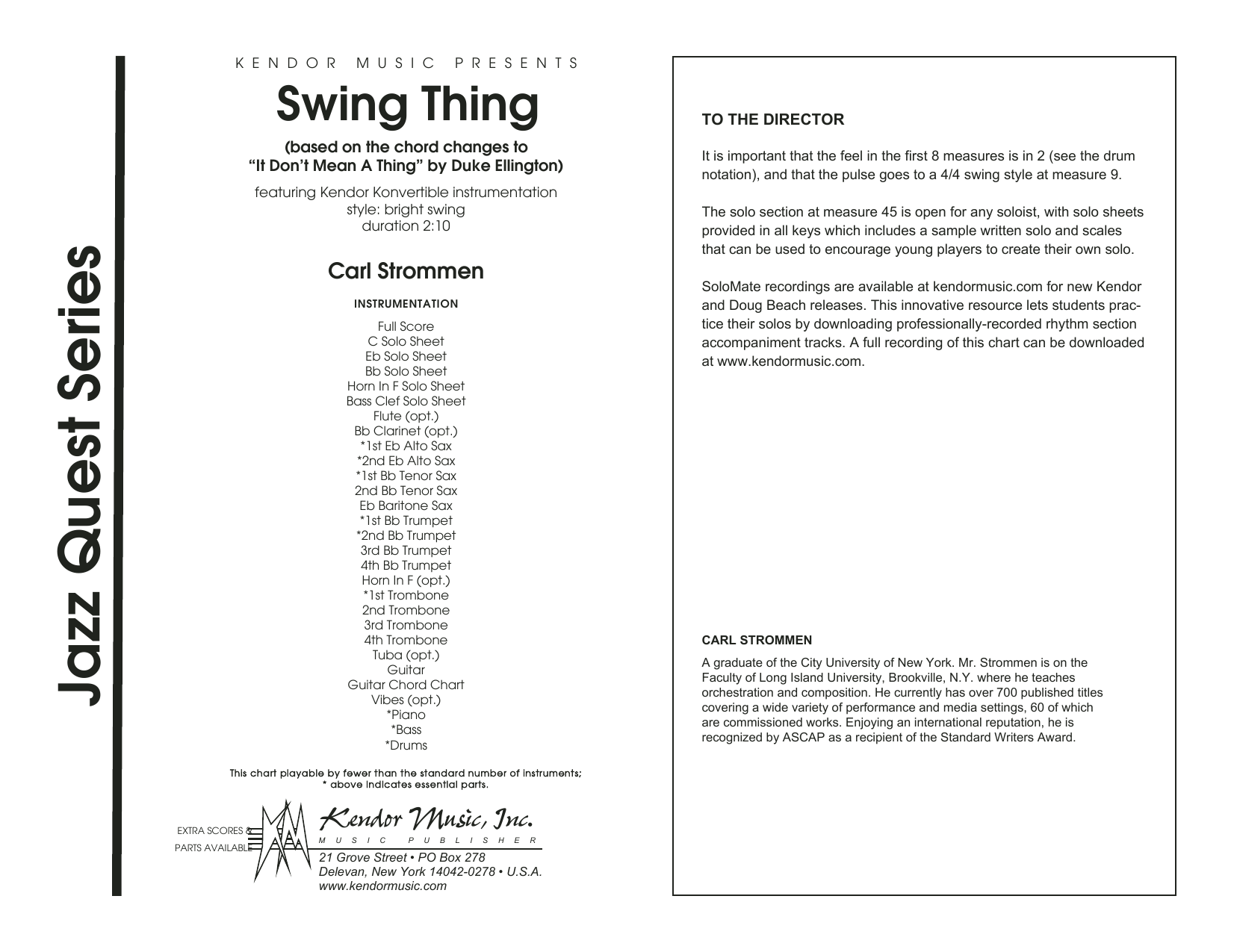 Carl Strommen Swing Thing - Full Score sheet music preview music notes and score for Jazz Ensemble including 12 page(s)