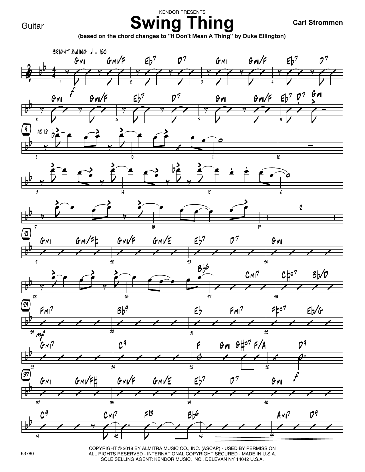 Carl Strommen Swing Thing - Guitar sheet music preview music notes and score for Jazz Ensemble including 2 page(s)