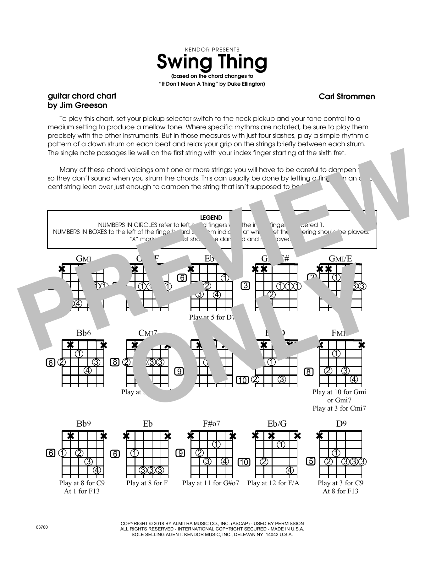 Carl Strommen Swing Thing - Guitar Chord Chart sheet music preview music notes and score for Jazz Ensemble including 1 page(s)