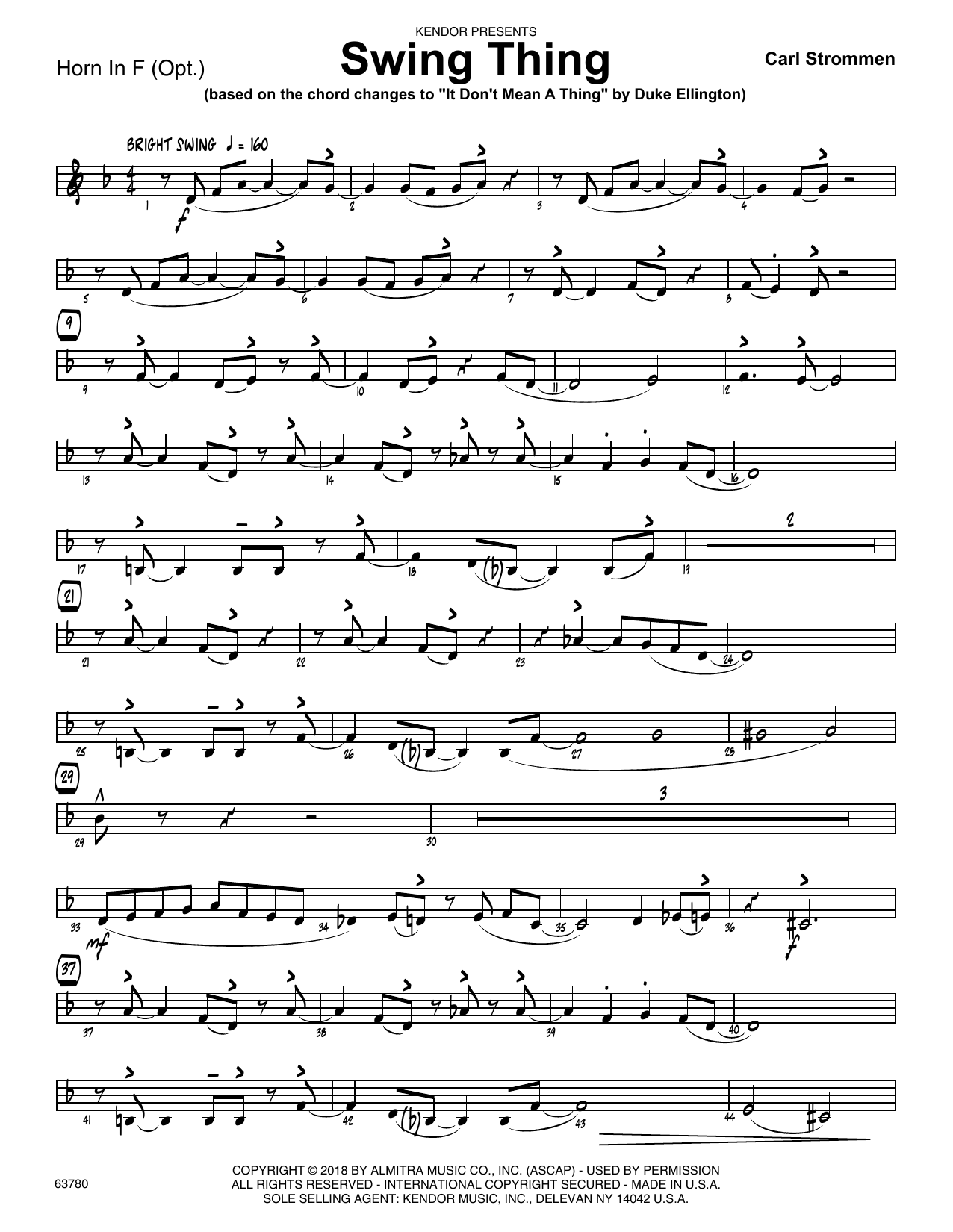 Carl Strommen Swing Thing - Horn in F sheet music preview music notes and score for Jazz Ensemble including 2 page(s)