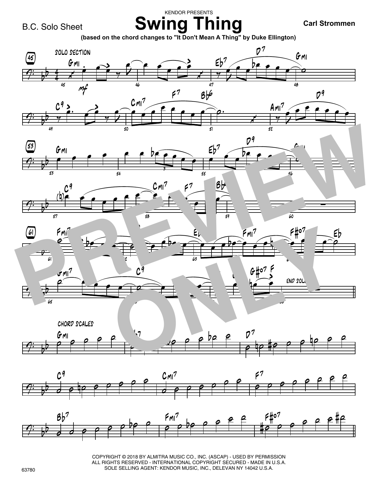 Carl Strommen Swing Thing - Sample Solo - Bass Clef Instr. sheet music preview music notes and score for Jazz Ensemble including 1 page(s)